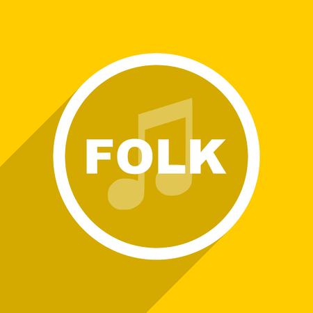 folk music: yellow flat design folk music web modern icon for mobile app and internet