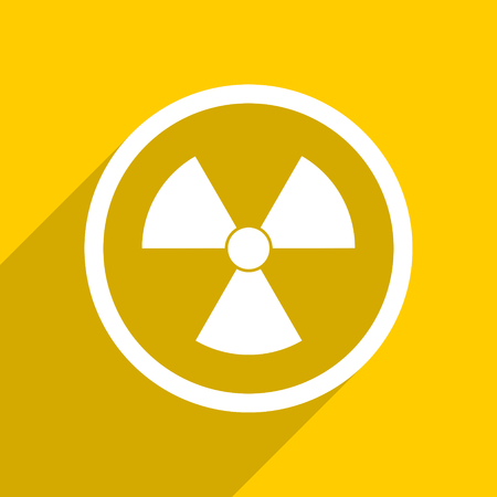 gamma radiation: yellow flat design radiation web modern icon for mobile app and internet