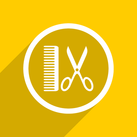 shampooing: yellow flat design barber web modern icon for mobile app and internet