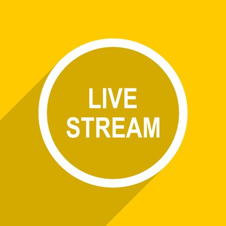 live stream: yellow flat design live stream web modern icon for mobile app and internet Stock Photo