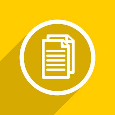 document icon: yellow flat design document web modern icon for mobile app and internet
