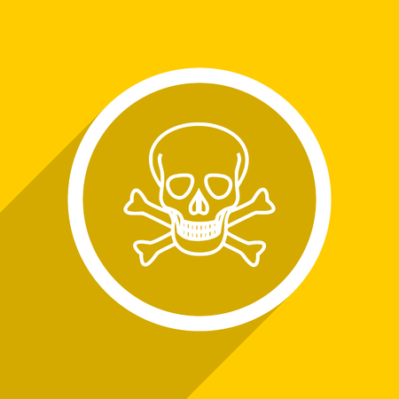 pirating: yellow flat design skull web modern icon for mobile app and internet