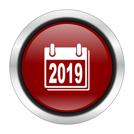 scheduler: new year 2019 icon, red round button isolated on white background, web design illustration