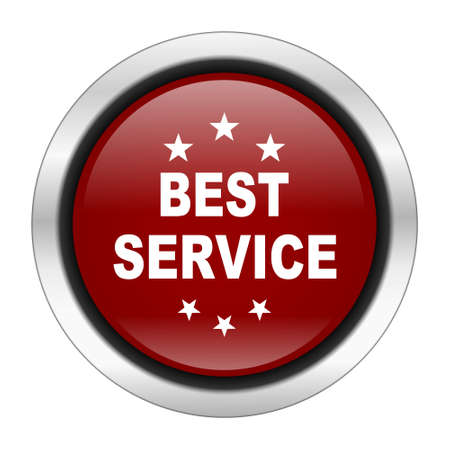 best service: best service icon, red round button isolated on white background, web design illustration Stock Photo