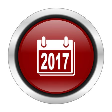 organiser: new year 2017 icon, red round button isolated on white background, web design illustration