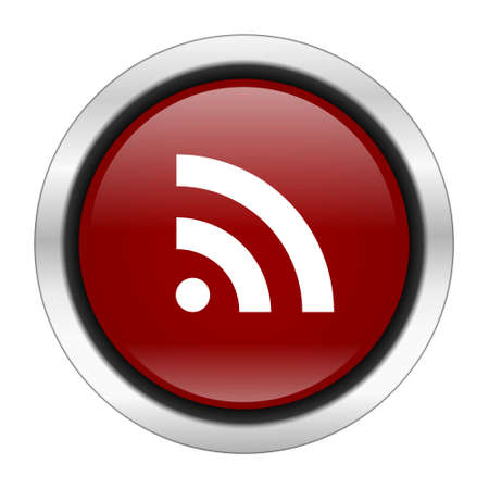 rss icon: rss icon, red round button isolated on white background, web design illustration
