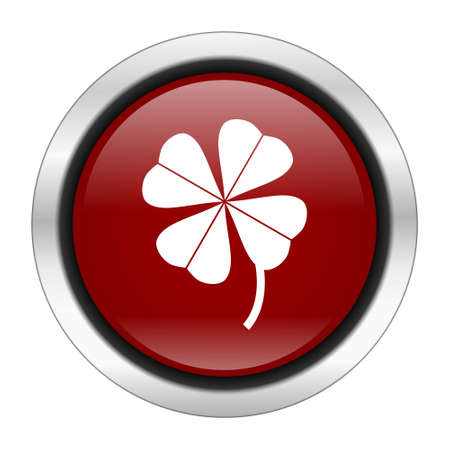 red clover: four-leaf clover icon, red round button isolated on white background, web design illustration Stock Photo