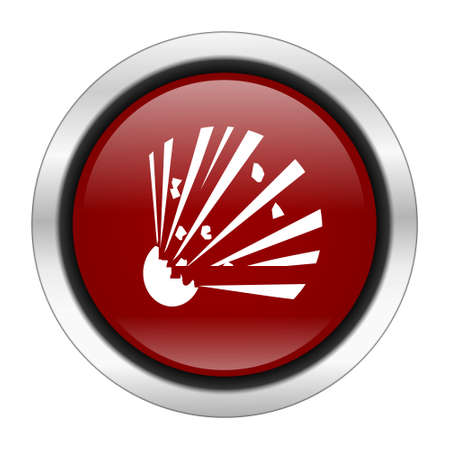explosive hazard: bomb icon, red round button isolated on white background, web design illustration