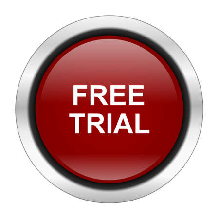 free trial: free trial icon, red round button isolated on white background, web design illustration