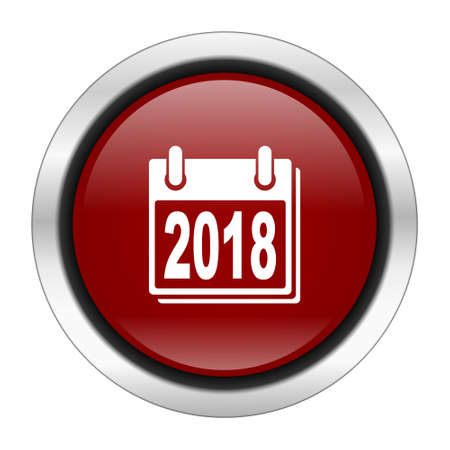 scheduler: new year 2018 icon, red round button isolated on white background, web design illustration