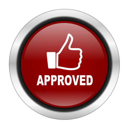 approved icon: approved icon, red round button isolated on white background, web design illustration Stock Photo
