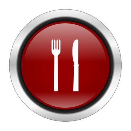 cater: eat icon, red round button isolated on white background, web design illustration