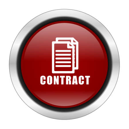 pacto: contract icon, red round button isolated on white background, web design illustration