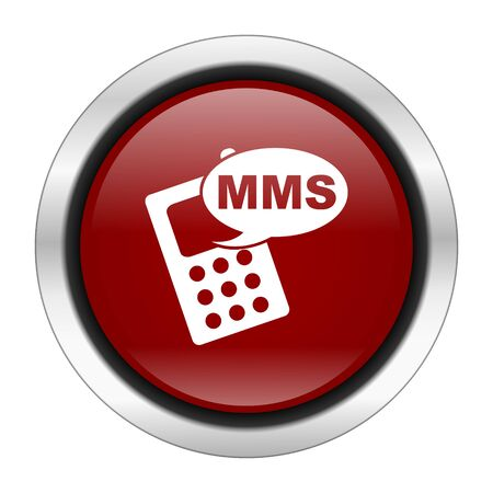 mms icon: mms icon, red round button isolated on white background, web design illustration