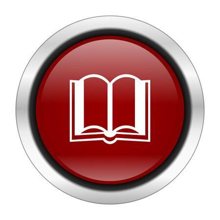guestbook: book icon, red round button isolated on white background, web design illustration