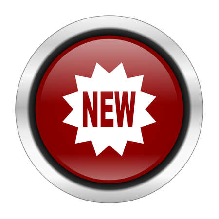 special steel: new icon, red round button isolated on white background, web design illustration