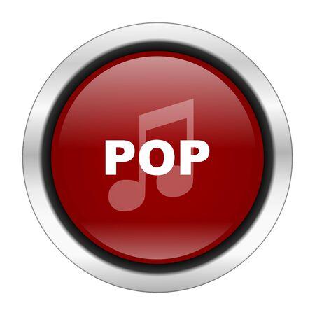 listen live stream: pop music icon, red round button isolated on white background, web design illustration