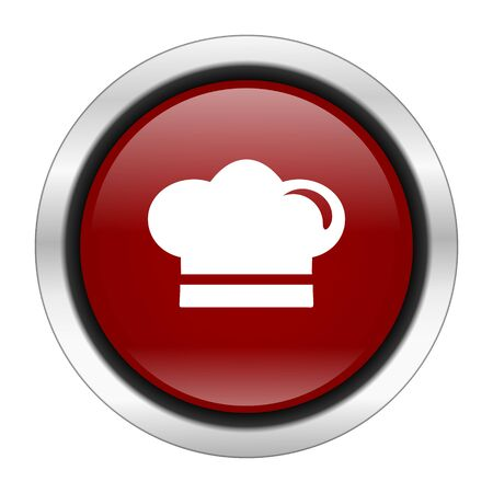 icon red: cook icon, red round button isolated on white background, web design illustration