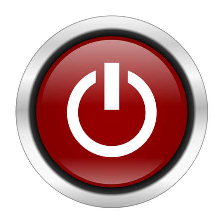 run off: power icon, red round button isolated on white background, web design illustration