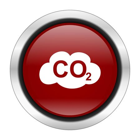 carbon dioxide: carbon dioxide icon, red round button isolated on white background, web design illustration