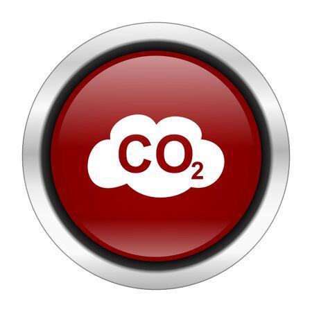 dioxido de carbono: icono de dióxido de carbono, el botón redondo de color rojo aisladas sobre fondo blanco, ilustración de diseño web Foto de archivo