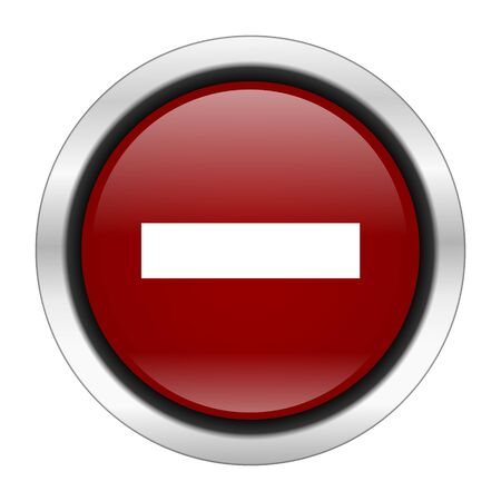 subtract: minus icon, red round button isolated on white background, web design illustration