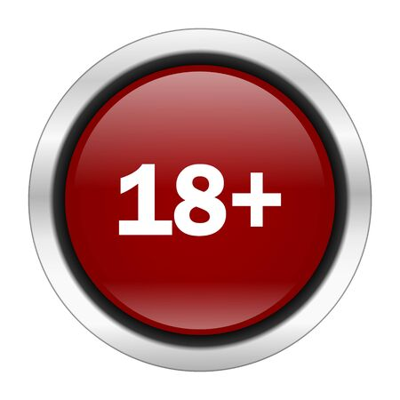 adult only: 18  adults icon, red round button isolated on white background, web design illustration