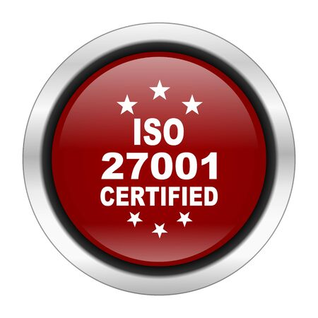 standard steel: iso 27001 icon, red round button isolated on white background, web design illustration Stock Photo
