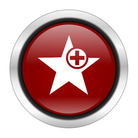 preference: star icon, red round button isolated on white background, web design illustration