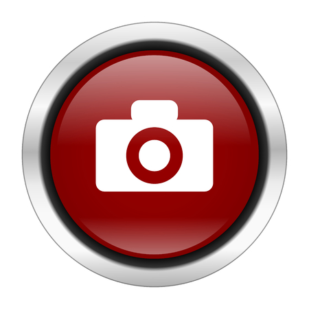 picto: camera icon, red round button isolated on white background, web design illustration