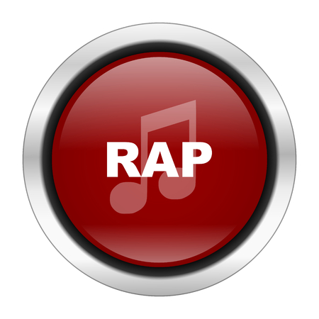 rap music: rap music icon, red round button isolated on white background, web design illustration