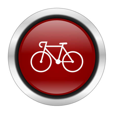 bicycling: bicycle icon, red round button isolated on white background, web design illustration Stock Photo