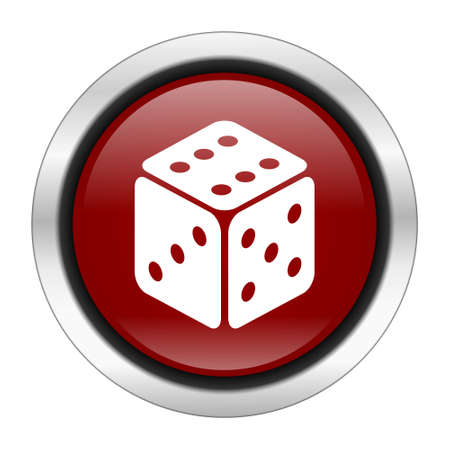 sucess: game icon, red round button isolated on white background, web design illustration Stock Photo