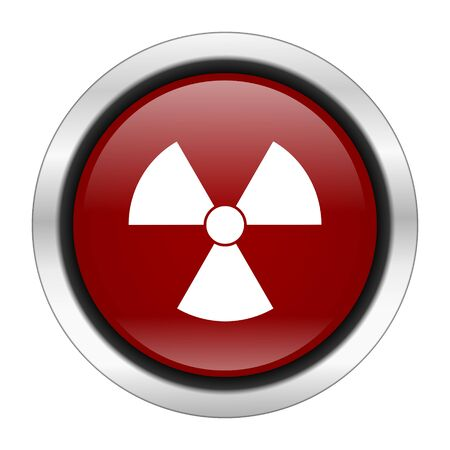 gamma radiation: radiation icon, red round button isolated on white background, web design illustration