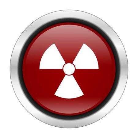 gamma radiation: radiation icon, red round button isolated on white background, web design illustration
