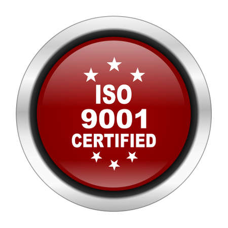 standard steel: iso 9001 icon, red round button isolated on white background, web design illustration