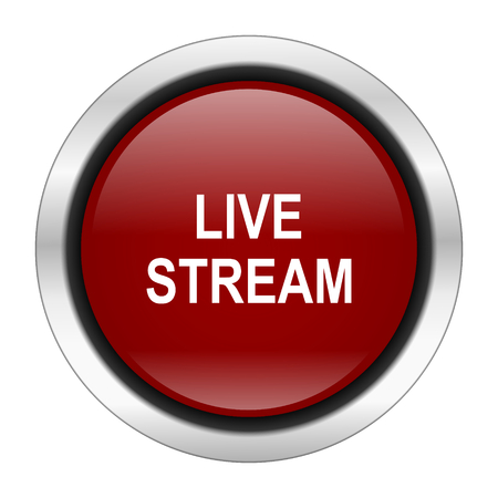 live stream: live stream icon, red round button isolated on white background, web design illustration Stock Photo