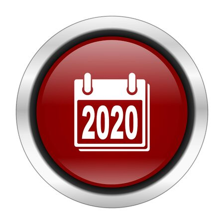 scheduler: new year 2020 icon, red round button isolated on white background, web design illustration Stock Photo