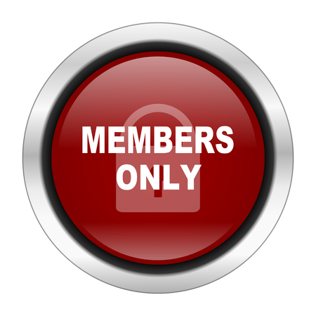 premium member: members only icon, red round button isolated on white background, web design illustration Stock Photo