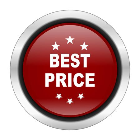 best price icon: best price icon, red round button isolated on white background, web design illustration