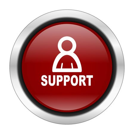advisor: support icon, red round button isolated on white background, web design illustration