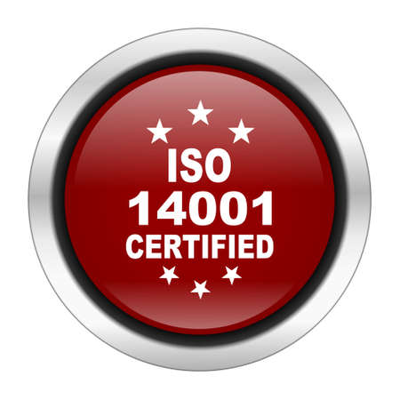 standard steel: iso 14001 icon, red round button isolated on white background, web design illustration
