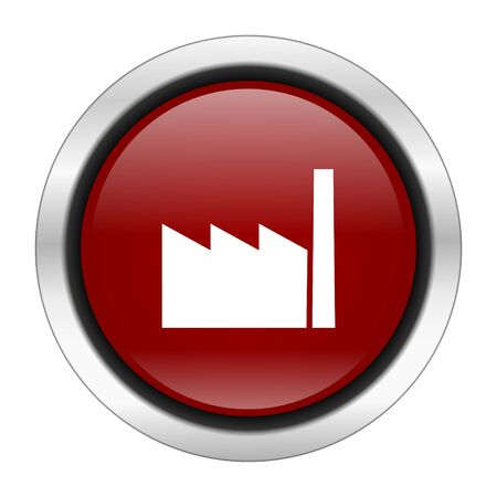 industrial complex: factory icon, red round button isolated on white background, web design illustration