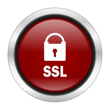 ssl: ssl icon, red round button isolated on white background, web design illustration Stock Photo