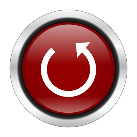 rotate icon: rotate icon, red round button isolated on white background, web design illustration