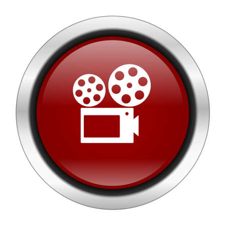watch movement: movie icon, red round button isolated on white background, web design illustration