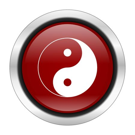 ying and yang: ying yang icon, red round button isolated on white background, web design illustration