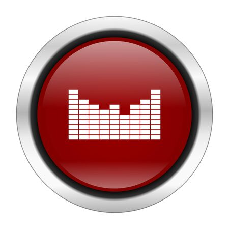 red sound: sound icon, red round button isolated on white background, web design illustration Stock Photo