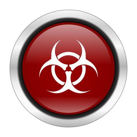 varez: biohazard icon, red round button isolated on white background, web design illustration