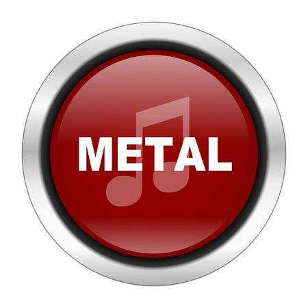 metal music: metal music icon, red round button isolated on white background, web design illustration